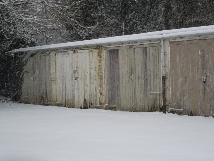 Garages in the snow
